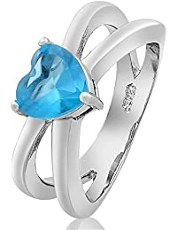 Corazón Mujer Joyería Corte Aguamarina Topacio oro blanco plateó el anillo 6 M