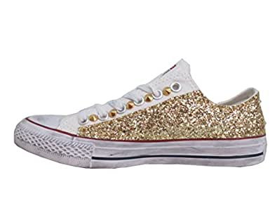 design senza tempo 083b2 d1508 Converse all Star Ox Basse Glitter Oro Bianche Optical White ...