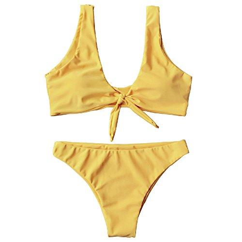 ZAFUL Conjunto de Bikini con Relleno Dos Piezas Set Traje de Baño con Nudo Delantero Color Liso 2019 Verano