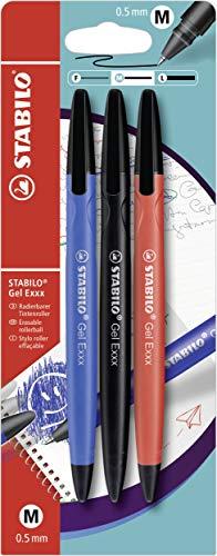 Radierbarer Gel-Roller - STABILO Gel Exxx - 3er Pack - blau, schwarz, rot