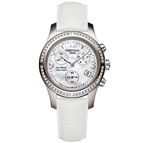 CERTINA WOMEN'S DS PRIME 34MM WHITE LEATHER BAND QUARTZ WATCH C538.7033.48.96