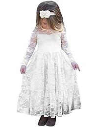 Mädchen Kleider Kinder Kleider Longra Kinderkleidung Mädchen Langarm Prinzessin Kleid Spitze Kleid Lange Kleid Bogen Hochzeit Kleider Partykleid Brautjungfern Abendkleider