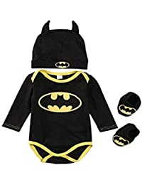 3 Unids Ropa Bebe Verano BEB¨¦S Reci¨¦N Nacidos Bebe Ni?Os Batman Mamelucos Zapatos Trajes De Sombrero Ropa Set BEB¨¦ Fresco Traje De Tela De Batman