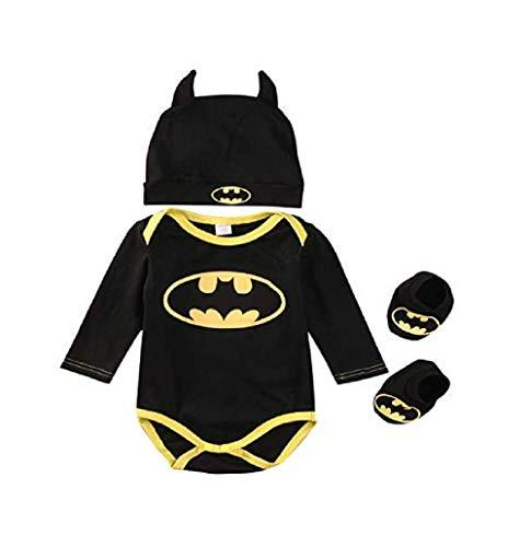 Greetuny 3 Stücke Baby Kleidung Sommer Babys Neugeborenen Batman Strampler Schuhe Hut Kostüme Kleidung Set Baby Cool Batman Tuch Anzug (Schwarz-B, 70(0-6 Monate)) (2019 Kleinkind-halloween-kostüme Einzigartige)