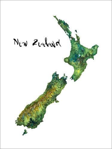 Poster 30 x 40 cm: Karte von Neuseeland in Aquarell von Ricardo Bouman - hochwertiger Kunstdruck, neues Kunstposter