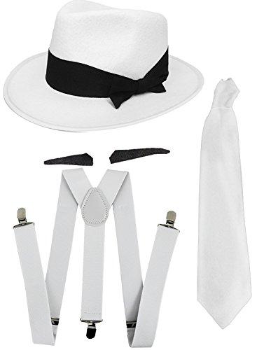 r, dünner Schnurrbart, Krawatte, passende Hosenträger und weißer Filzhut, 20er-Jahre-Gangster wie Al Capone (Mob Boss-halloween-kostüm)