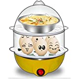 Baby Basket Double Layer 14 Eggs Large Capacity Multifunction Egg Boilers Steamed Egg Custard Cooking Electric Egg Cooker Boiler With Stainless Steel Bowl