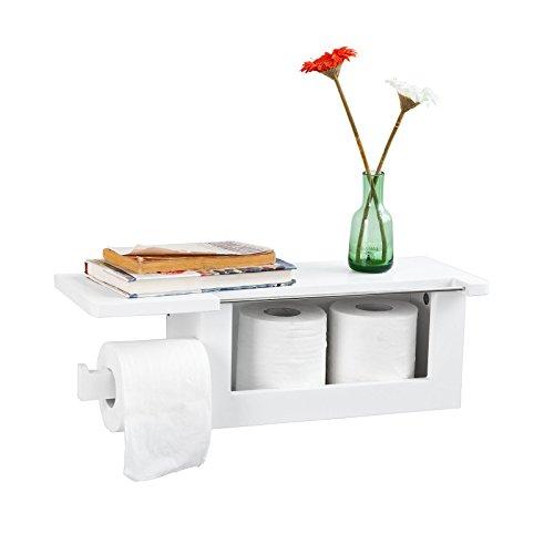 SoBuy FRG175-W Dérouleur Papier Toilette - Distributeur WC Porte Papier Mural Avec Support Pour Déposer Smartphone et Porte-revues - Blanc