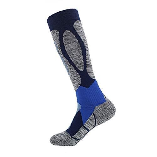 ASDFGG-hm Skisocken Ski-Socken Herren Warm Skifahren Kalb Socken High Performance Wintersport Socken for Outdoor Skilaufen Wandern Snowboard 25-27cm (Farbe : Blau, Größe : 25-27)