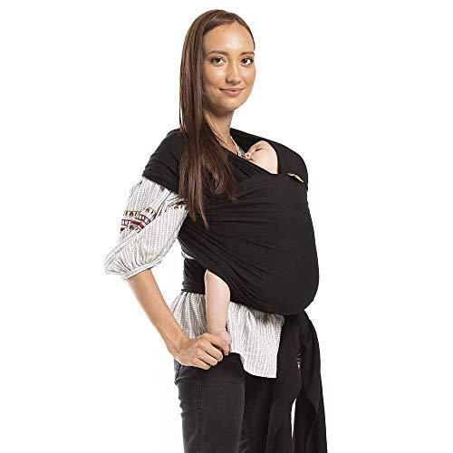 Baby&Care Babytragetuch -Ideales GESCHENK- 95% Baumwolle 5% Elastan- Tragetuch für Baby Neugeborene Kleinkinder - inkl. Tragetasche in verschienen Farben Kindertragetuch Babybauchtrage Tuch (Schwarz) -