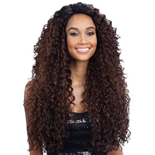 Kashyk Afro Perücke, brasilianisches Echthaar, Ombre-Stil, Braun/Schwarz mit Farbverlauf gelockt, charmant, weich und flexibel, volle Spitze vorne, hitzebeständig, flauschig, dickes Haar