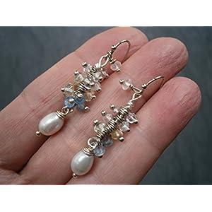 Ohrringe pastell Edelstein Mix um weiße Perlen handmade versilbert Traube aus Amethyst Citrin Rosenquarz Blautopas im Geschenk Etui Geburtstagsgeschenk
