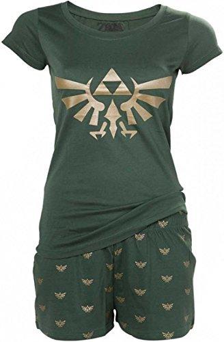Zelda Hyrule Shorty Pyjama PJ Women Cotton Green - L by Elbenwald (Pyjama Cotton Green)