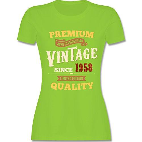 Shirtracer Geburtstag - 60. Geburtstag Vintage 1958 - Damen T-Shirt Rundhals Hellgrün