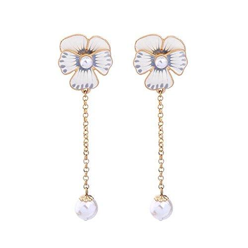 JunBo Mode Ohrring Emaille Tropfen Glasur Blume Süßwasser -
