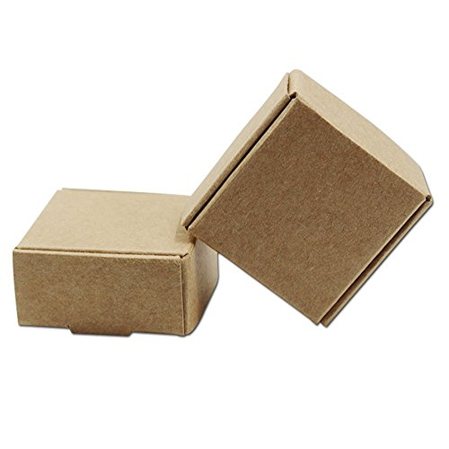 Yalulu 50 Stk. Mini 5.5cmx5.5cmx2.5cm Kraftpapier Kasten Kartons Geschenkboxen Gastgeschenk Packung Hochzeit Weihnachten Pralinenschachtel Geschenkverpackung Tüten für Süßigkeiten Karton
