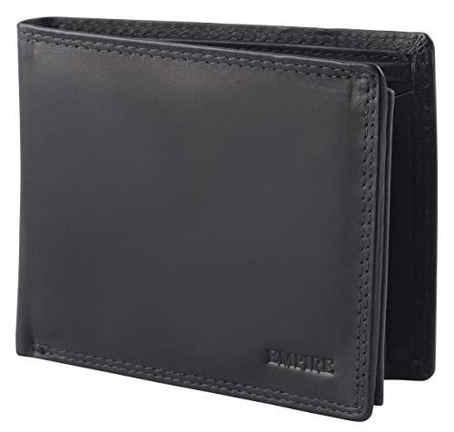 Empire RFID Lederbörse Geldbörse aus echtem Leder für Herren Querformat schwarz
