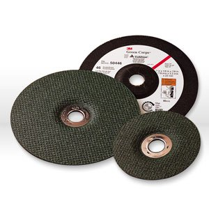 3M Green Corps Ceramic Depressed-Center Wheel - 36 Grit Very Coarse Grade - 4 1/2 in Dia 7/8 in Center Hole - Thickness 1/4 in - 13300 Max RPM - 55992 [PRICE is per WHEEL] by 3M