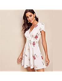 36cf5075b4ff LFDLYQ Moda Nuovo Collo Petalo Manica Cravatta Vita Boho Summer Dress Fit  And Flare Partito Abiti