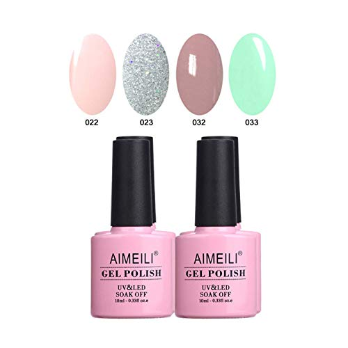 AIMEILI UV LED Gellack mehrfarbig ablösbarer Gel Nagellack Gel Nail Polish Set Kit - 4 x 10ml - Set Nummer 2