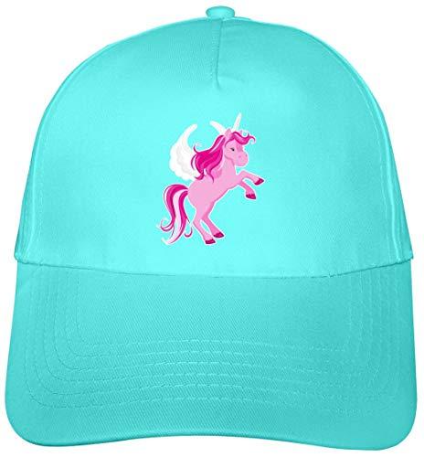 Samunshi Kinder Kappe Pinkes Einhorn Mütze Cap Kindermütze für Kids Junior Original 5 Panel Cap OneSize surfblau/Farbiger Aufdruck