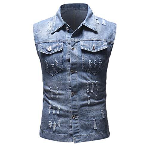 CuteRose Men Casual Pocket Vintage Wash Ripped Sleeveless Denim Jacket Vest Light Blue M Medium Wash Denim Vest