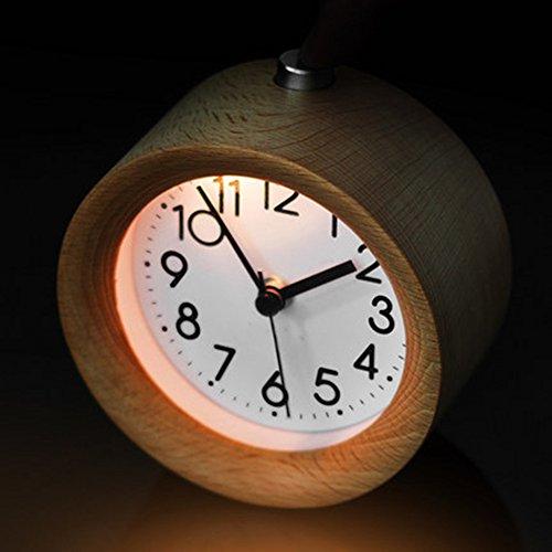 """Jinberry 4"""" Retro Reloj Despertador Silenciosos de Madera Hecho a Mano / Vintage Alarma de Mesa con Luz, Función Snooze y Sonido Gradual - Abedul de Plata (Redondo)"""