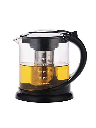 TEAHOM Glas Teekanne Teebereiter kanne 1L 1,9L mit Teesieb mit Abnehmbare Edelstahl-Sieb Teebereiter...
