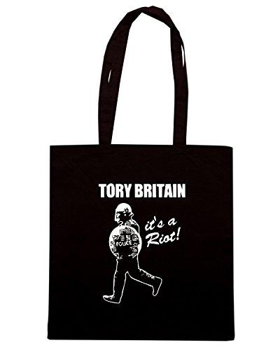 T-Shirtshock - Borsa Shopping TCO0068 tory britain it s a riot Nero