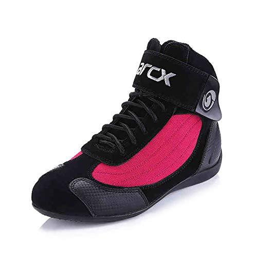 Scarpe da Moto Uomo Donna Protezione Antiskid Stivali da Corsa Sportivo Quattro Stagioni Caldo E Traspirante Scarpe da Ciclismo,Red-44