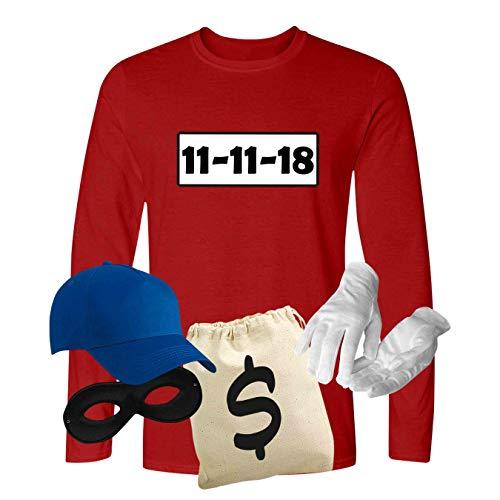 Kostüm Elf Herren - Panzerknacker Longsleeve Kostüm-Set Wunschnummer Karneval JGA Herren XS-5XL Gangster Verkleidung Fastnacht, Größe:XL, Logo & Set:11.11./Set Deluxe+ (11.11.XX/Shirt+Cap+Maske+Hands.+Beutel)