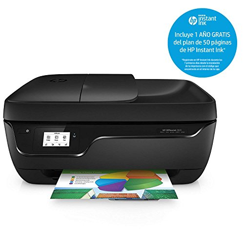 HP OfficeJet 3831 - Impresora Multifunción de Tinta (WiFi, 512 MB, 600 x 300 dpi, 1200 x 1200 dpi, A4, 216 x 297 mm, con 1 Año del Plan DE 50 Páginas de HP Instant Ink Incluido), Color Negro