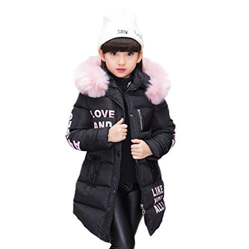 YYF Kinder Mädchen Lange Winterjacke mit Fellkapuze Outerwear Oberbekleidung Winter Kleidung Verdichte Kinderjacke Wintermantel Mantel Parka