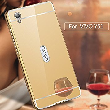 Vivo Y55L or Vivo Y55 Luxury Metal Bumper Acrylic Mirror Back Cover Case-Gold