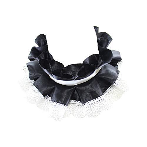 goneryisour Damen Palace Vintage Satin Rüschen Fake Collar - Band Tie Spitze Choker Halskette Fake Collar -