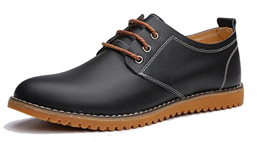DADAWEN Men's Dress Casual Oxfords Leather Shoes Black UK Size 9