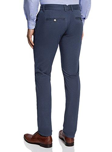 oodji Ultra Homme Pantalon Chino à Petit Motif Graphique Bleu (7975G)
