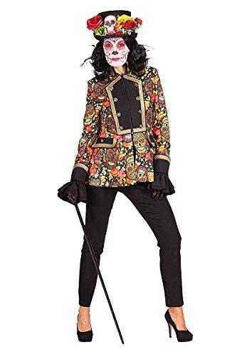 Thetru 2364 Damenjacke Totengräger 1-Teilig Jacke Tag der Toten Day of the Death Dia de los Muertos Totenkopf Skull Halloween Kostüm Damen Damenkostüm Halloweenkostüm Karneval Fasching Verkleidung Rot-Gelb XL (Gelbe Jacke Kostüm)