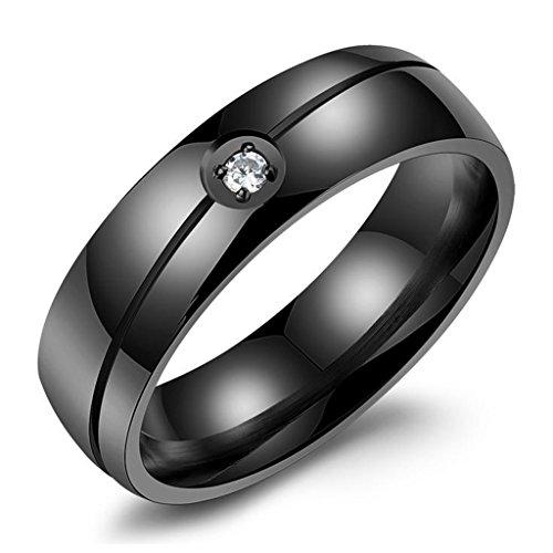 Bishilin Acciaio Inossidabile 6MM Nero Solitario AAA CZ Amicizia Anelli di Fidanzamento e Anelli Matrimonio Coppia Misura 25