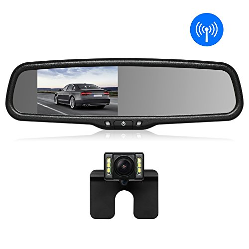 AutoVox T1400W Wireless Rückfahrkamera Set, IP68 Wasserdicht LED Super Nummerschild Nachtsicht Rückseite Backup Auto-Kamera, FHD Monitor im Rückspiegel, Funksender,Ideal Geeigenet für Nahezu Alle Automodell (Wireless-rückfahrkamera-system)
