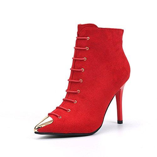 khskx-fine scarpe tacco rosso nozze scarpe testa di metallo belle tacchi, Thirty-nine Thirty-seven