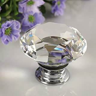 IGNPION 10X40mm Diamond Cut Clear Crystal Glass Kitchen Drawer Door Knob Cupboard Pull Handle Hardware for Bedroom Furniture, Bedside Cabinet, Dresser Unit and Chest
