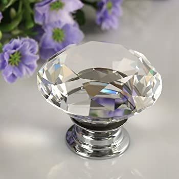 SODIALR 6 x Crystal Glass Clear Door Knobs Handles 30mm Drawer