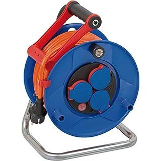 Brennenstuhl Garant IP44 Kabeltrommel (25m - Spezialkunststoff, Einsatz im Außenbereich und rund ums Haus, Made In Germany) blau