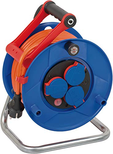 Brennenstuhl Garant IP44 Kabeltrommel (25m Kabel in orange, Spezialkunststoff, Einsatz im Außenbereich)