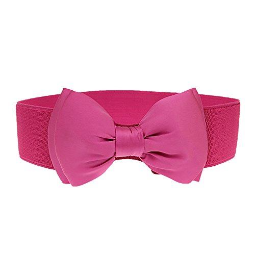 YBWZH Damenmode Bowknot-Bund-breiter elastischer Stretch-Taillen-Gürtel Damen Fashion Gürtel Breiter Taillengürtel Hüftgürtel Bindegürtel Ledergürtel in vielen Farben(Heißes Rosa) Chiffon Ribbon Roll