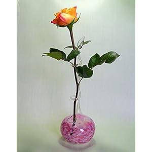 Rosenvase Einblumenvase Glas Lauscha Einschmelzung rosa-dunkelrosa Vase für Rosen