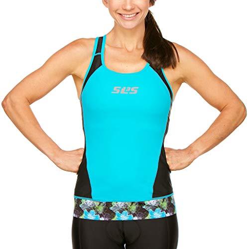 SLS3 Triathlon-Oberteil für Damen, Triathlon-Oberteil für Damen, Reibungsschutznähte, Rutschfester Saum, kein Büstenhalter, Black/Martinica Blue, X-Small