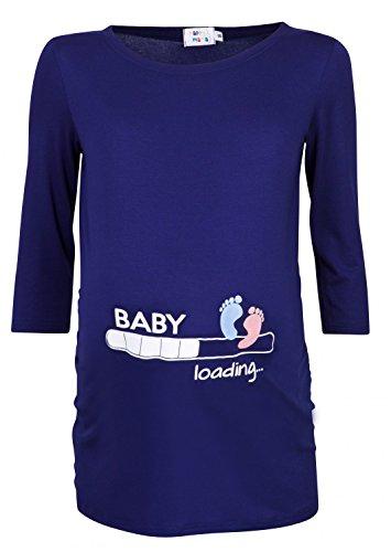 Happy mama donna magliette premaman t-shirt divertente piedi neonato stampa 549p (marina, it 44/46)
