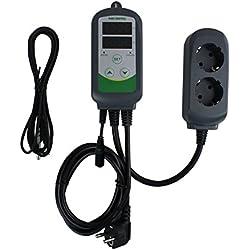 Inkbird ITC-308S Controleur Numérique de Temperature à Double Relais de 220V, Prise Thermostat Refroidissement et Chauffage avec Sonde, pour Aquarium,Terrarium,Pompe(ITC-308S+Sonde Courte 5cm)